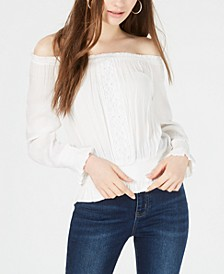 Juniors' Smocked Off-The-Shoulder Top