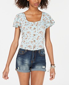 Self Esteem Juniors' Printed Flutter-Sleeve Top
