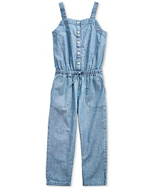 Polo Ralph Lauren Toddler Girls Indigo Cotton Chambray Jumpsuit