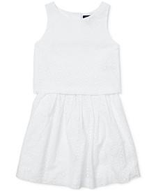 Big Girls Cotton Eyelet Top & Skirt Set