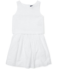 Polo Ralph Lauren Big Girls Cotton Eyelet Top & Skirt Set