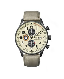 AVI-8 Men's Japanese Quartz Chronograph Hawker Hurricane, AV-4011-0C, Grey Leather Strap Watch 42mm