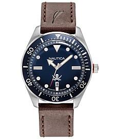 Nautica Men's NAPHCP902 Hillcrest Dark Brown/Navy Leather Strap Watch
