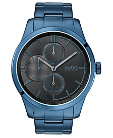 Men's #Discover Blue Stainless Steel Bracelet Watch 46mm