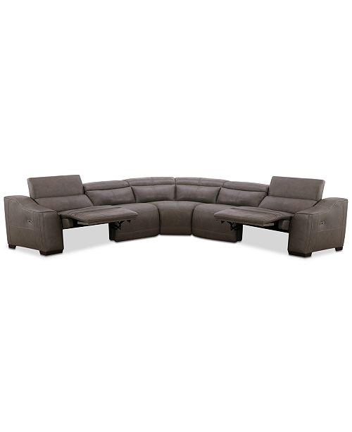 Furniture CLOSEOUT! Ruthin 5-Pc. Leather Sectional Sofa with 2 Power Recliners