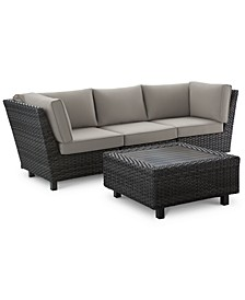 Lake Toba Aluminum Outdoor 4-Pc. Sectional Seating Set (2 Corner Units, 1 Armless Middle Unit & 1 Coffee Table), Created for Macy's