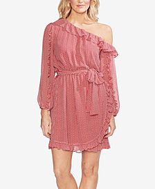 Vince Camuto Asymmetrical-Shoulder Ruffle-Trim Dress