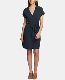 1.STATE Asymmetrical Button-Up Dress