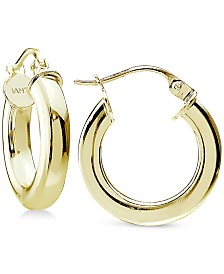 Giani Bernini Puff Hoop Earrings in 18k Gold-Plated Sterling Silver, Created for Macy's