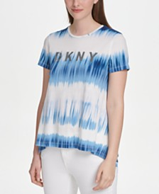 DKNY Logo-Print Tie-Dyed Trapeze Top