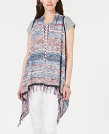 Style & Co Fringe-Trim Multicolor Vest, Created for Macy's