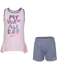 Nike Little Girls 2-Pc. Ruffle Tank Top & Shorts Set