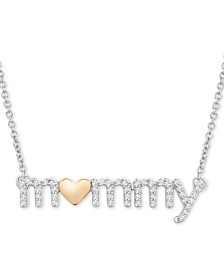 "Diamond Mommy Heart Pendant Necklace (1/6 ct. t.w.) in Sterling Silver & 14k Gold-Plate, 18"" + 2"" extender"
