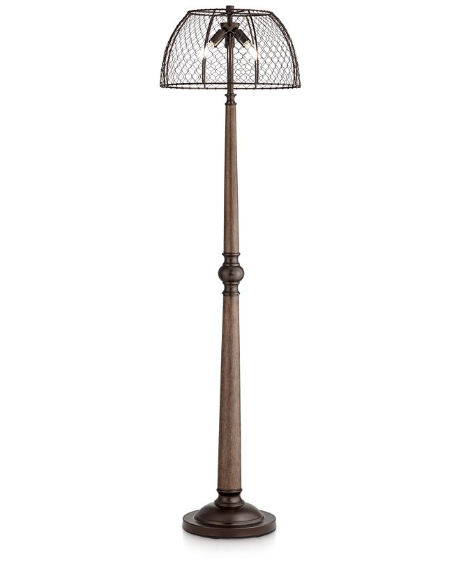 Pacific Coast Chicken Wire and Wood Floor Lamp