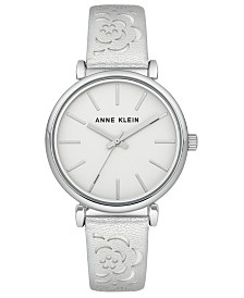 Anne Klein Women's Silver-Tone Metallic Leather Strap Watch 36mm