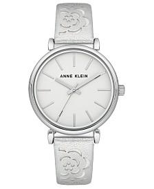 Anne Klein Women's Silver-Tone Metallic Leather Strap Watch 36mm