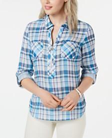 Tommy Hilfiger Plaid Popover Zip-Up Shirt