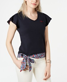 Tommy Hilfiger Cotton Flutter-Sleeves Bow-Tie Top, Created for Macy's