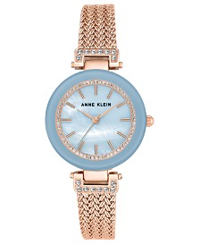Anne Klein Woman's Rose Gold-Tone Stainless Steel Mesh Bracelet Watch 30mm
