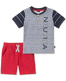 Baby Boys 2-Pc. Cotton Henley Shirt & Shorts Set