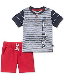 Nautica Baby Boys 2-Pc. Cotton Henley Shirt & Shorts Set