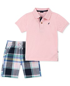 Baby Boys 2-Pc. Polo Shirt & Plaid Shorts Set
