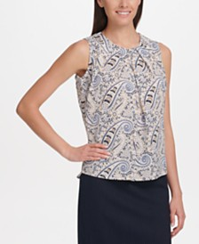 Tommy Hilfiger Paisley Pleat-Neck Top