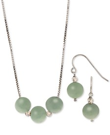 2-Pc. Set Dyed Jade (8mm) Statement Necklace & Drop Earrings in Sterling Silver