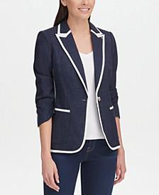 Contrast-Trim One-Button Blazer