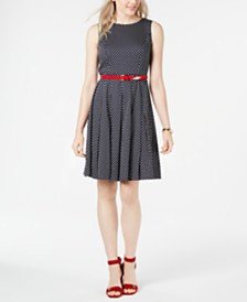 Tommy Hilfiger Belted Polka-Dot Dress, Created for Macy's