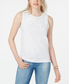 Tommy Hilfiger Lace-Trim Sleeveless Top