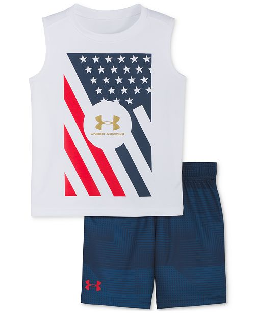 Under Armour Toddler Boys 2-Pc. Red, White & Blue Tank Top & Shorts Set
