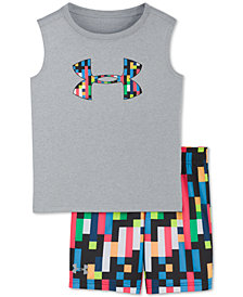 Under Armour Little Boys 2-Pc. Pixel Zoom Graphic Tank Top & Shorts Set