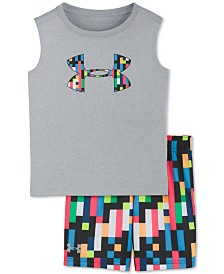 Under Armour Toddler Boys 2-Pc. Pixel Zoom Logo Tank Top & Short Set