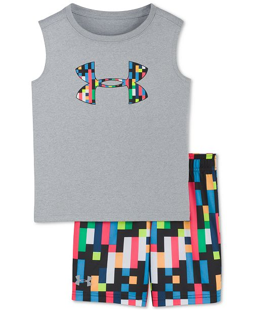 Under Armour Little Boys 2-Pc. Pixel Zoom Graphic Tank Top & Shorts Set