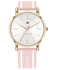 Women's Pink Silcone Strap Watch 35mm Created for Macy's