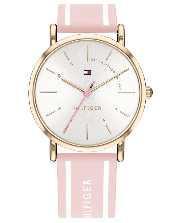 Tommy Hilfiger Women's Pink Silcone Strap Watch 35mm Created for Macy's
