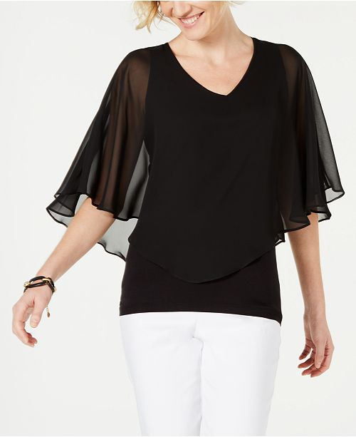 JM Collection Solid V-Neck Chiffon Overlay Top, Created for Macy's