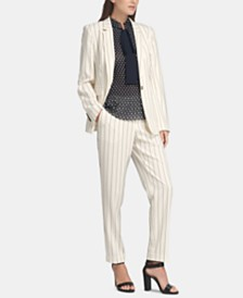 DKNY Pinstriped Blazer, Tie-Neck Peplum Blouse & Pinstriped Tie-Waist Pants