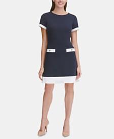 Tommy Hilfiger Petite Contrast-Trim Piqué Dress