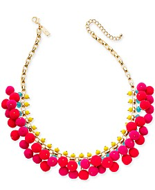 """I.N.C. Gold-Tone Multi Pom-Pom Statement Necklace, 18"""" + 3"""" extender, Created for Macy's"""