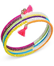I.N.C. Gold-Tone Multicolor Bead & Tassel Coil Wrap Bracelet, Created for Macy's