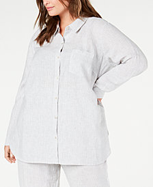 Eileen Fisher Plus Size Striped Button-Front Organic Linen Top