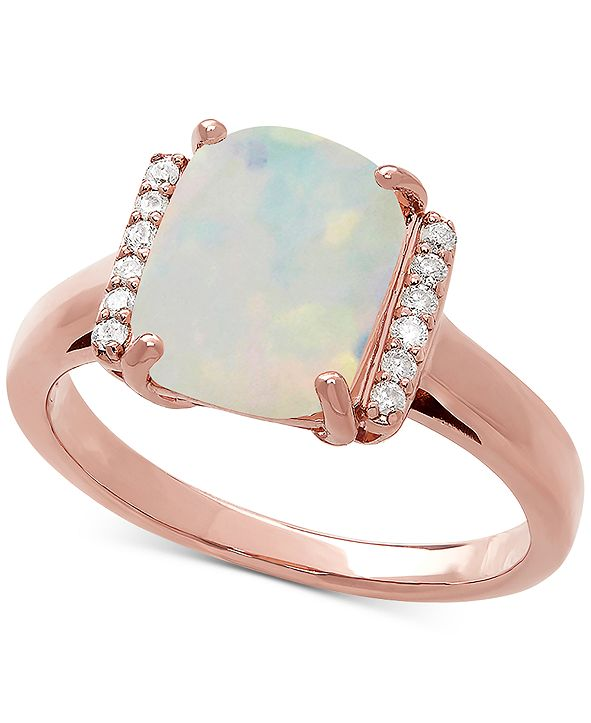 Macy's Opal (1-3/4 ct. t.w.) & Diamond Accent Statement Ring in 14k Rose Gold