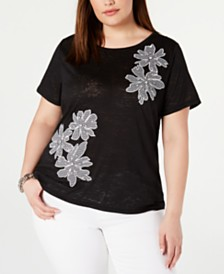 I.N.C. Plus Size Rhinestone Gingham Floral Top, Created for Macy's