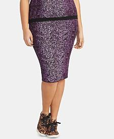 RACHEL Rachel Roy Plus Size Tia Leopard-Print Skirt
