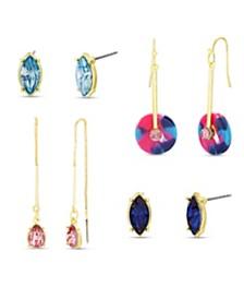 Kensie Women's Rhinestone Geo Stud, Hook And Threader 4 Piece Earring Set