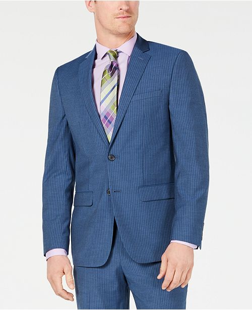 83dcdab9fcd2 ... Van Heusen Men's Slim-Fit Flex Stretch Wrinkle-Resistant Blue Pinstripe  Suit ...