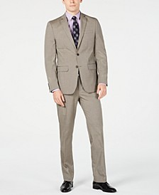 Men's Slim-Fit Flex Stretch Wrinkle-Resistant Light Brown Tic Suit