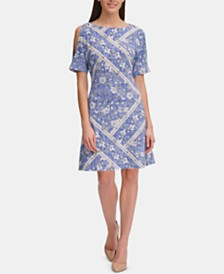 Tommy Hilfiger Denim-Floral Grommet Jersey Dress
